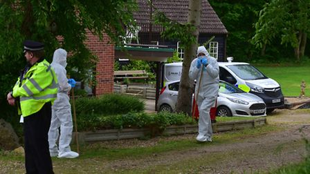 Suffolk police officers search the home of Peter and Sylvia Stuart in Mill Lane, Weybread. Picture: