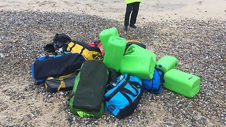 The holdalls discovered on a beach in Hopton (Picture: NCA)