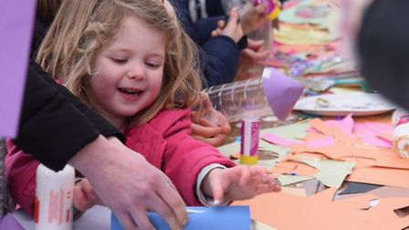 Children enjoying the activities at the Seething Observatory. Emma Smith, four, from Poringland, bus