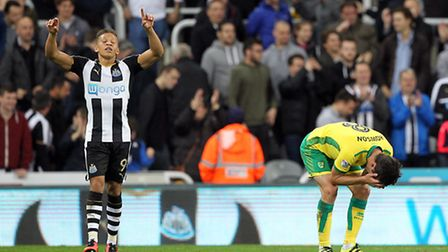Dwight Gayle struck a hat-trick in Newcastle's4-3 Championship win against Norwich City. Picture: Pa