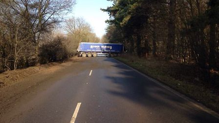 A1065 is blocked near to Grimes Graves. Photo from Breckland Police.