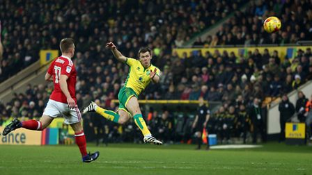 Jonny Howson's volley against Nottingham Forest was one of the best at Carrow Road. Picture by Paul