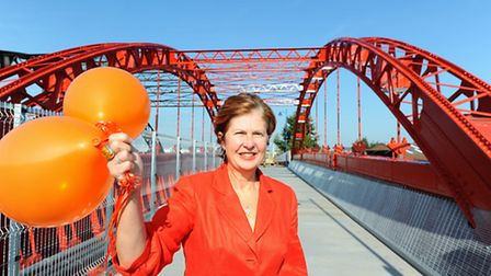 Miriam Kikis officially opening the new refurbished Vauxhall Bridge in Great Yarmouth. Picture: J