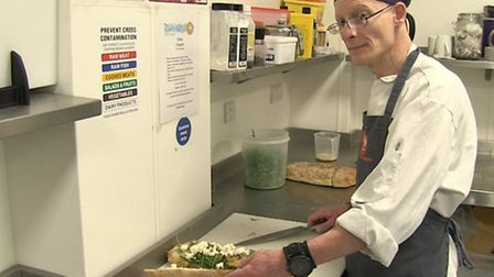 Rob Sampson working in a kitchen. Picture: Mustard TV