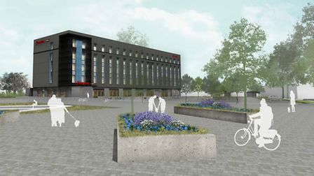 An artist impression of the Hampton by Hilton hotel proposed for Spitfire Road, near Norwich Airport