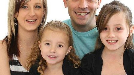 Amy Innes with her husband Gareth and daughters Lexie (left) and Tian (right). Picture Dan Sunderlan