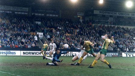 Malcolm Allen scoring against Sutton United in the FA Cup in January, 1989.