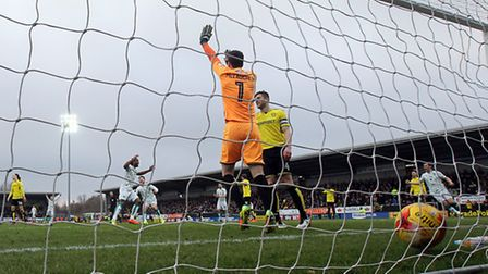 Cameron Jerome diverted Steven Whittaker's miscue past Burton keeper Jon McLaughlin. Picture by Paul
