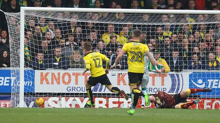 Cauley Woodrow slots Burton's first goal in a 2-1 win over Norwich City. Picture by Paul Chesterton/