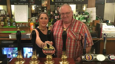 Pub manager Tonya Howe (left) and landlord John Bunkell (right) at The Bull in Hellesdon. PIC: Peter