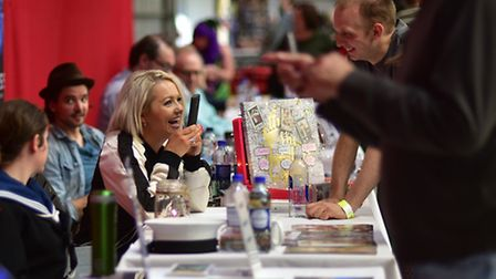 Hannah Spearritt: Nor-Con at Norfolk Showground. Actor Hannah Spearritt meeting fans. Picture: Antho