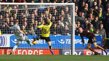 Steven Whittaker clears off the line with the game still goalless, as Norwich City come under pressu
