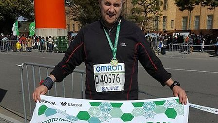 Dereham man Ian Odgers, pictured after running his 52nd marathon in the space of a year, in Japan.