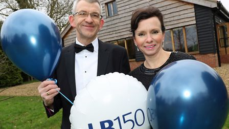 Ball organisers Mark Haylett and Beverley Luckins outside the ballroom at the Ivy House Country Hote