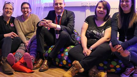 Pictured in the sensory room at TOPCATS in Pakefield are (from left) TOPCATS children's service mana