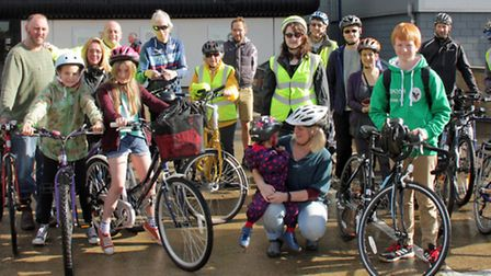 Matthew Reil (at the front in a green top) who is cycling this year's Tour de Broads 25-mile challen