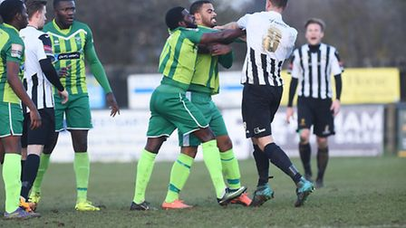 A melee broke out with players from both sides early in the second half at Aldiss Park. Picture: Ian