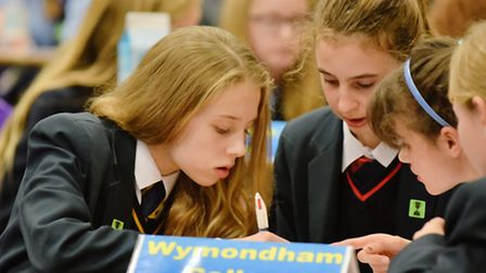 Students from Norfolk and Suffolk schools gather at Thetford Academy for a literature competition. B