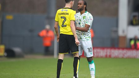 Tempers flare between Burton's Tom Flanagan and Cameron Jerome. Picture: Paul Chesterton/Focus Image