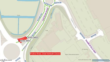 The stretch of Pasteur Road which will be closed next week. Pictrue: Norfolk County Council