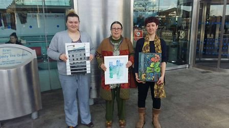 The Well Artists group. Left to right, Hannah Ayres, Lynda Waterson, Helen Goddard. Photo: Marc Bett