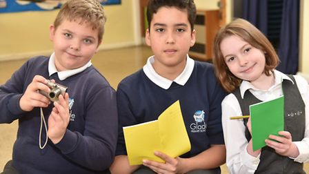 A team of students at Glade Primary in Brandon launch their newspaper The Deer Times. Photographer O