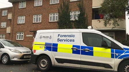 Forensic services on the scene at Saffron Square in Norwich. Photo: Archant