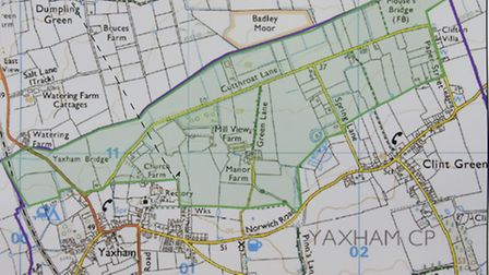 The map of Yaxham showing the proposed gap (green area) designed to prevent erosion of the open coun