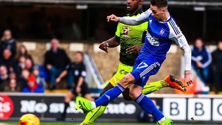 Tom Lawrence scored twice in Ipswich Towns recent 2-2 draw with Reading but is suspended for the de