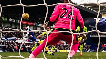 Tom Lawrence fires Ipswich 1-0 up against Reading at Portman Road. Picture: Steve Waller