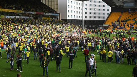 Jubilant scenes at Carrow Road after Norwich City beat Ipswich Town to seal a Wembley play-off date