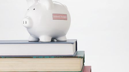 Piggy bank and stack of books. Picture: JupiterImages