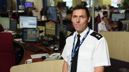 Temporary assitant chief constable Mike Fawcett, in the control room at Wymondham Police headquarter