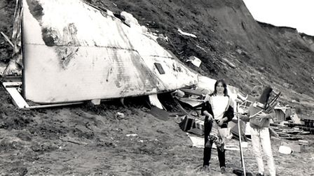 Caravan destroyed at East Runton in October 1987 storm. Photo from Archant Library.