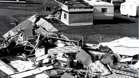 Caravans devastated in North Denes, Lowestoft. OCtober 1987. Photo from Archant Library.