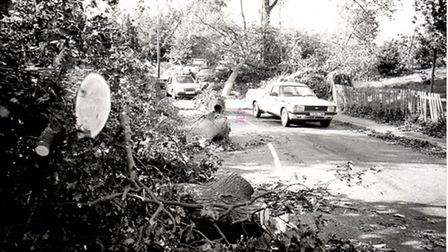 Aftermath of the 1987 storm shows trees across roads. Photo from Archant Library.