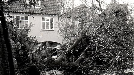 Beccles and Bungay Journal offices is blocked by fallen trees in October 1987. Photo from Archant Li