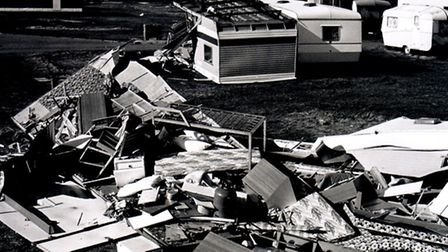 In North Denes, Lowestoft caravans are left completely destroyed by the storm in 1987. Photo from Ar