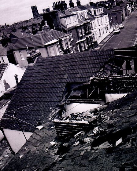 The October 1987 storm rips half the roof off Victoria Lodge, Nelson Road South, Yarmouth. Photo fro