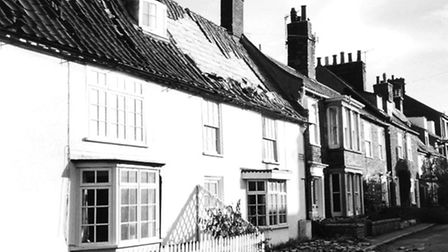 Damaged houses in Park Lane, Southwold following the storm in 1987. Photo from Archant Library.