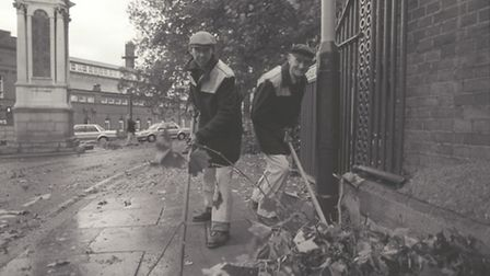 The clean up begins following the 1987 storms. Photo from Archant Library.