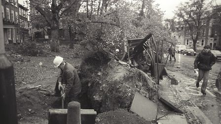 High levels of damage and disruption following the storms in October 1987. Photo from Archant Librar