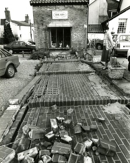 A brick wall was blown over in the 1987 storm outside Idears interior design shop in Diss. Photo fro