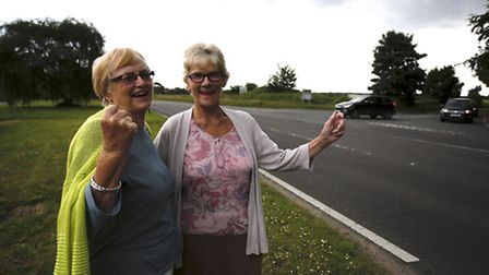Sue Arnold and Hilary Cox celebrate getting funding fro a new roundabout to improve road safety at t