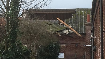 The roof has collapsed on Gorleston Baptist Church after a strong gust of wind. Photo: David Hannant