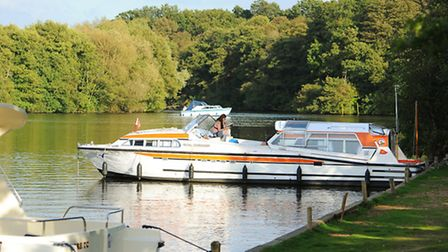 Boats moored up at Salhouse Broad on a balmy October afternoon. Picture: James Bass