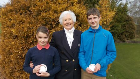 Dereham Ladies' president Jill Trudgill with Kaitlyn Auld and Charlie Eke. Picture: SUBMITTED