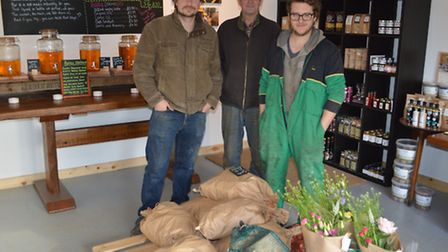 Yare Valley Farm Shop. Pictured from left are Glenn Sealey, Tim Mack and William Mack.