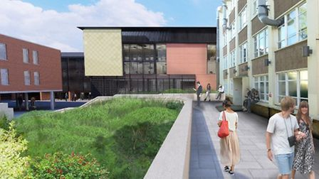 An artist's impression of the science centre at Anglia Ruskin University campus in Cambridge, a proj