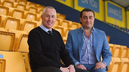 Ian Culverhouse is the new manager of King's Lynn Town FC. Also pictured (R) is chairman Stephen Cle